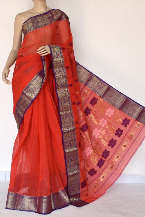 Dark Orange Handwoven Bengali Tant Cotton Saree (Without