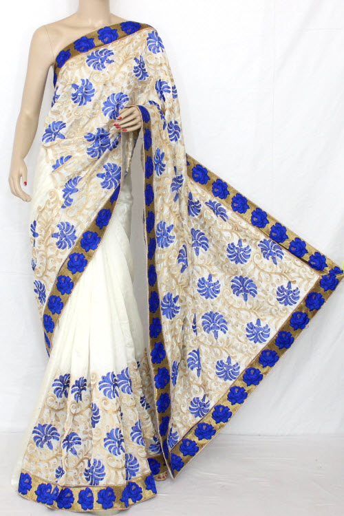 White And Blue Exclusive Embroidered Saree With Blouse 13297 Buy